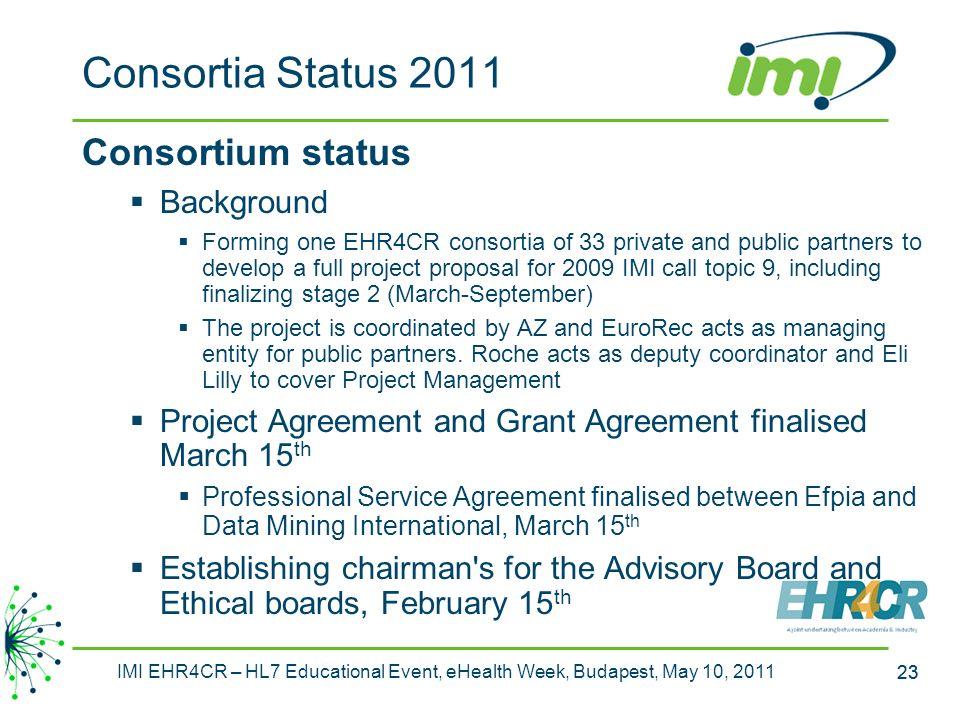 Consortia Status 2011 Consortium status Background