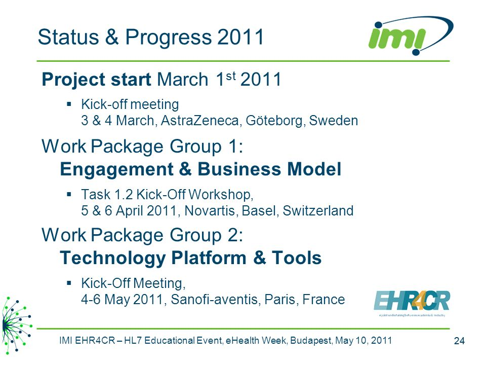 Status & Progress 2011 Project start March 1st 2011