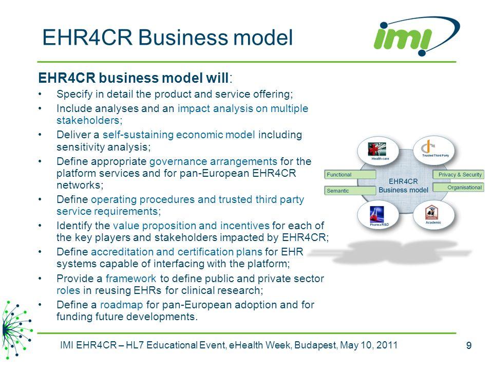 EHR4CR Business model EHR4CR business model will:
