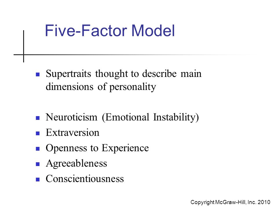neuroticism and the five factor model essay The five factor model stands for the describing of a person's personality, through the measuring of the factors of openness, conscientiousness, extraversion, agreeableness and neuroticism (ocean) traits inherent in them (mccrae & costa, 1987.