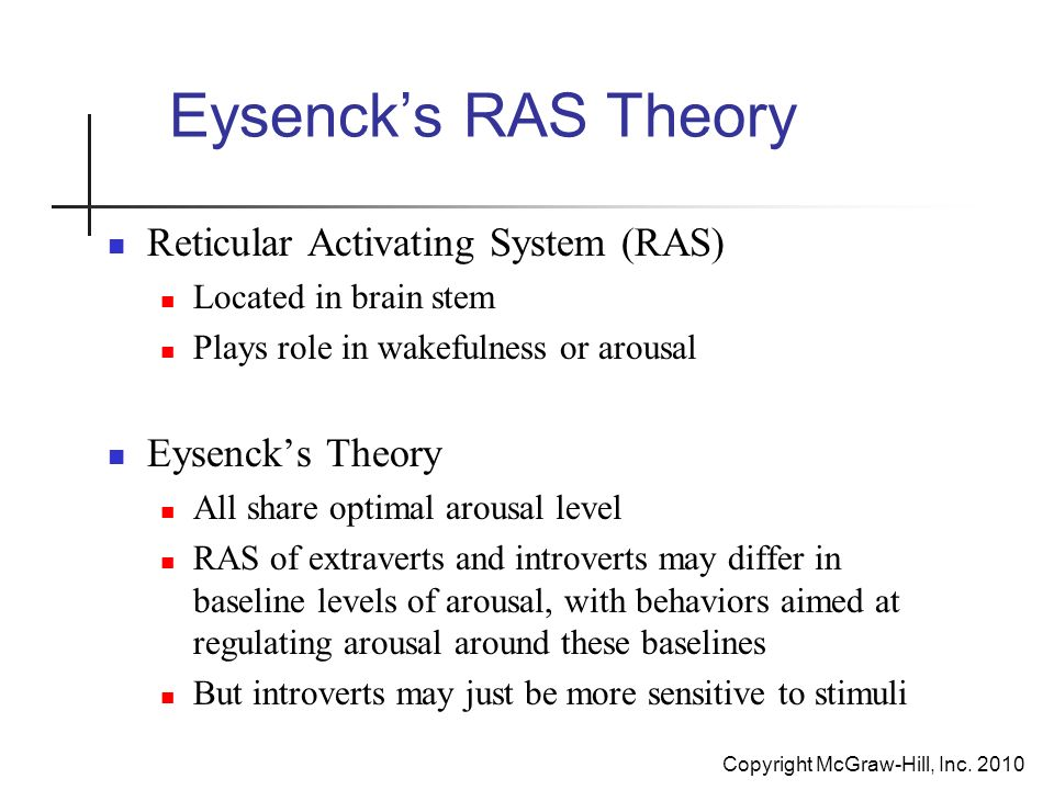 eysencks arousal theory of introversion extraversion essay Including aptitude, which will be described in a further part of the paper, as well  as  the extraversion-introversion continuum has been taken to be extraversion   eysenck is the author of two theories involving the process of cortical arousal .