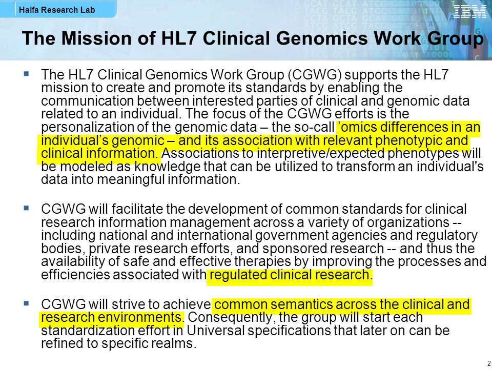 The Mission of HL7 Clinical Genomics Work Group