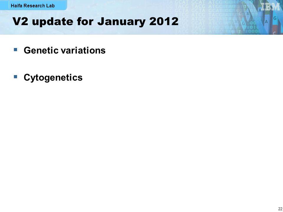 V2 update for January 2012 Genetic variations Cytogenetics