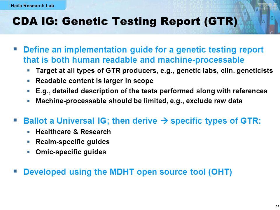 CDA IG: Genetic Testing Report (GTR)