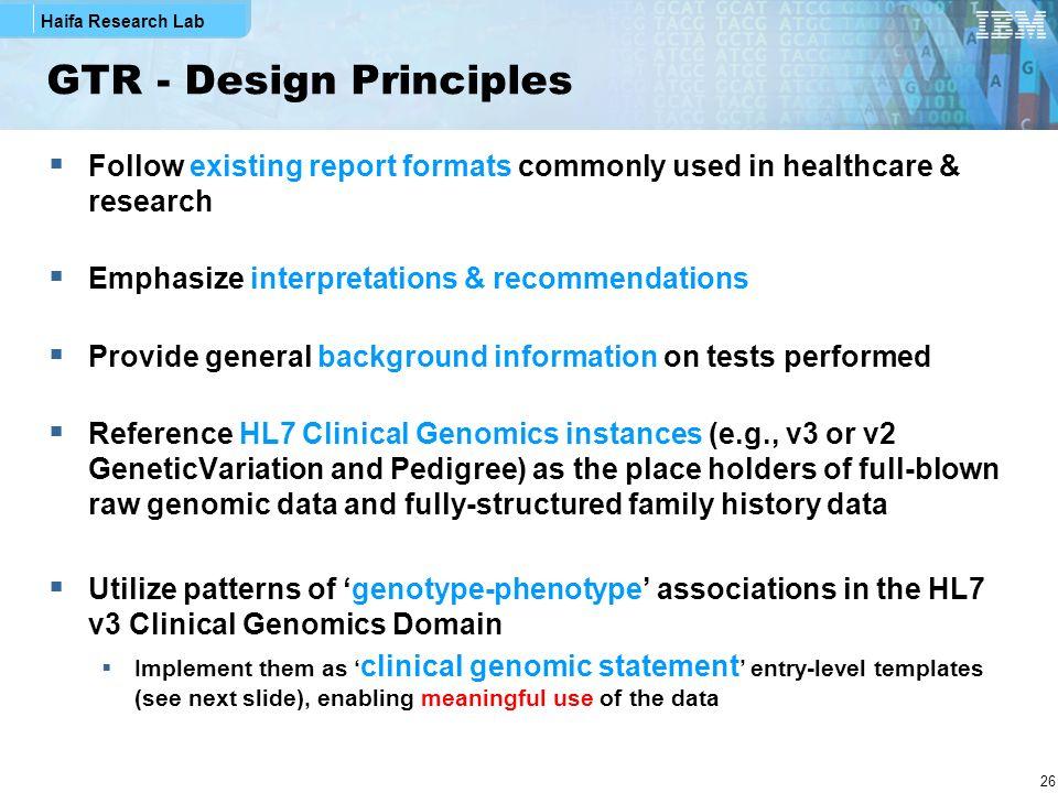 GTR - Design Principles