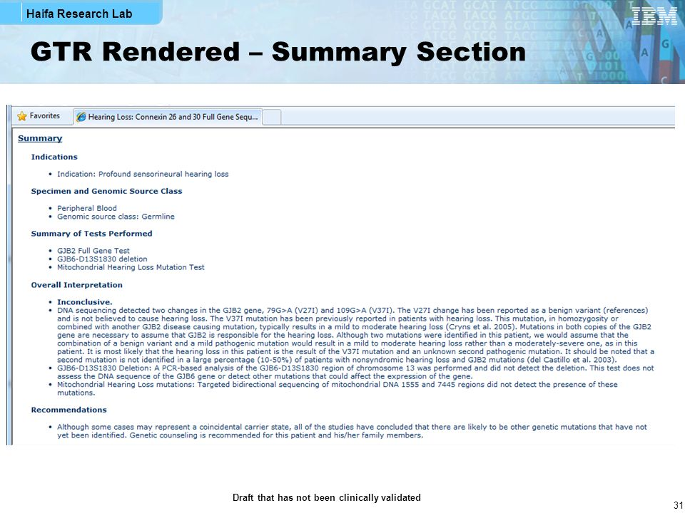 GTR Rendered – Summary Section