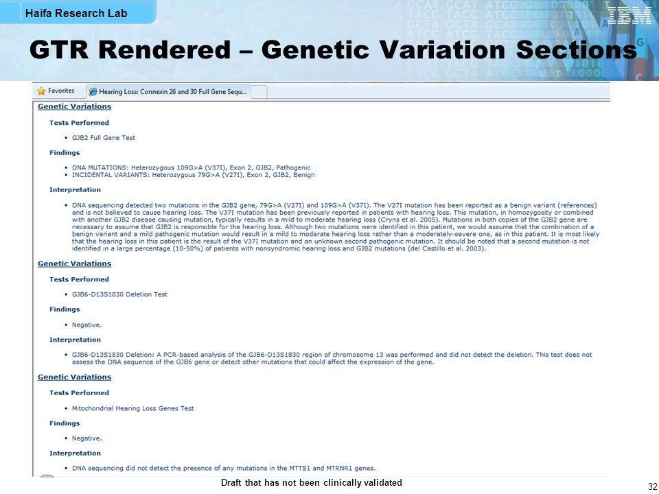 GTR Rendered – Genetic Variation Sections