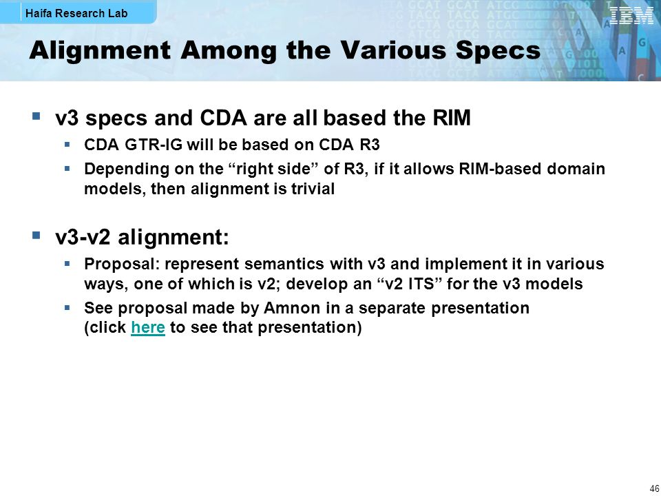Alignment Among the Various Specs