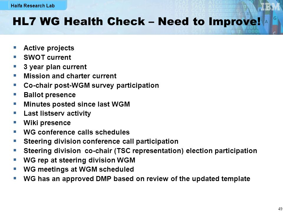 HL7 WG Health Check – Need to Improve!