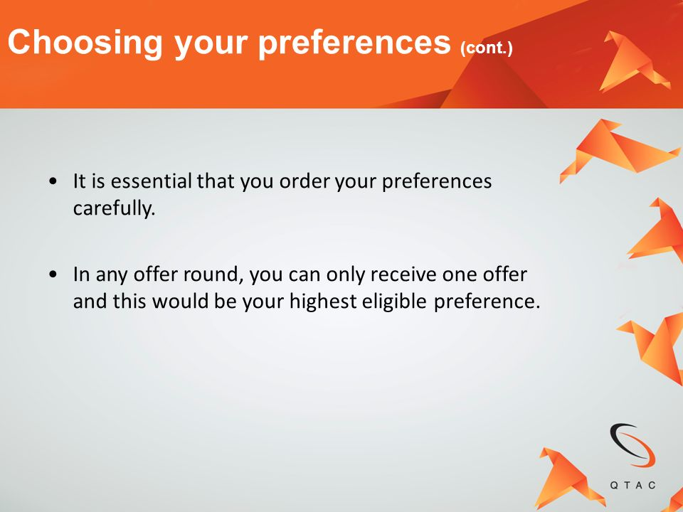 Choosing your preferences (cont.)