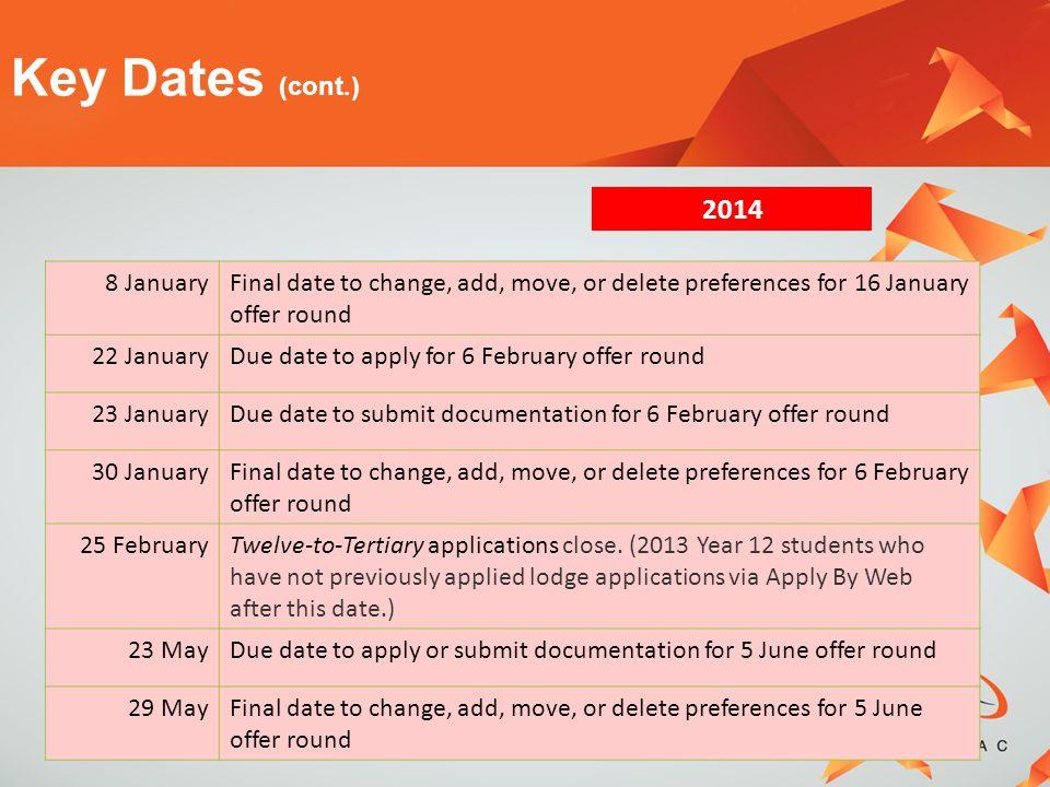 Key Dates (cont.) 2014 8 January