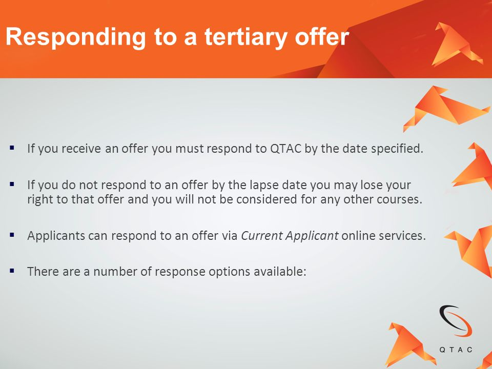 Responding to a tertiary offer