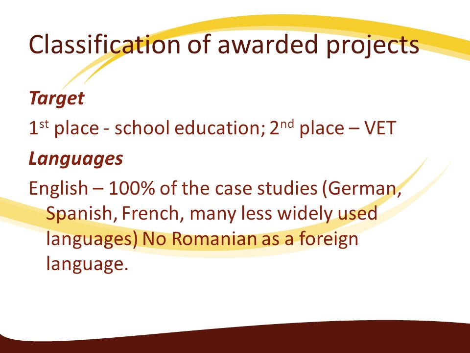Classification of awarded projects
