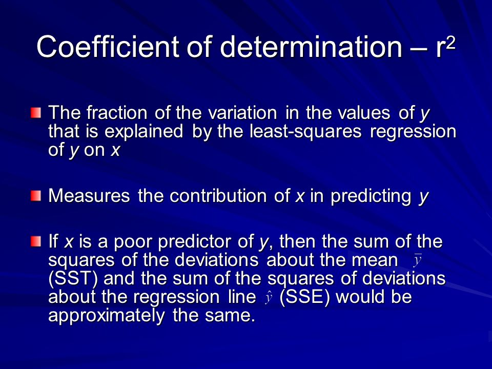 Coefficient of determination – r2