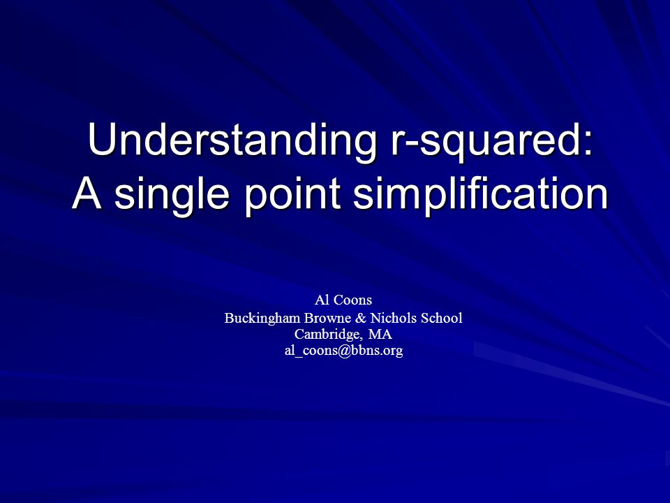 Understanding r-squared: A single point simplification
