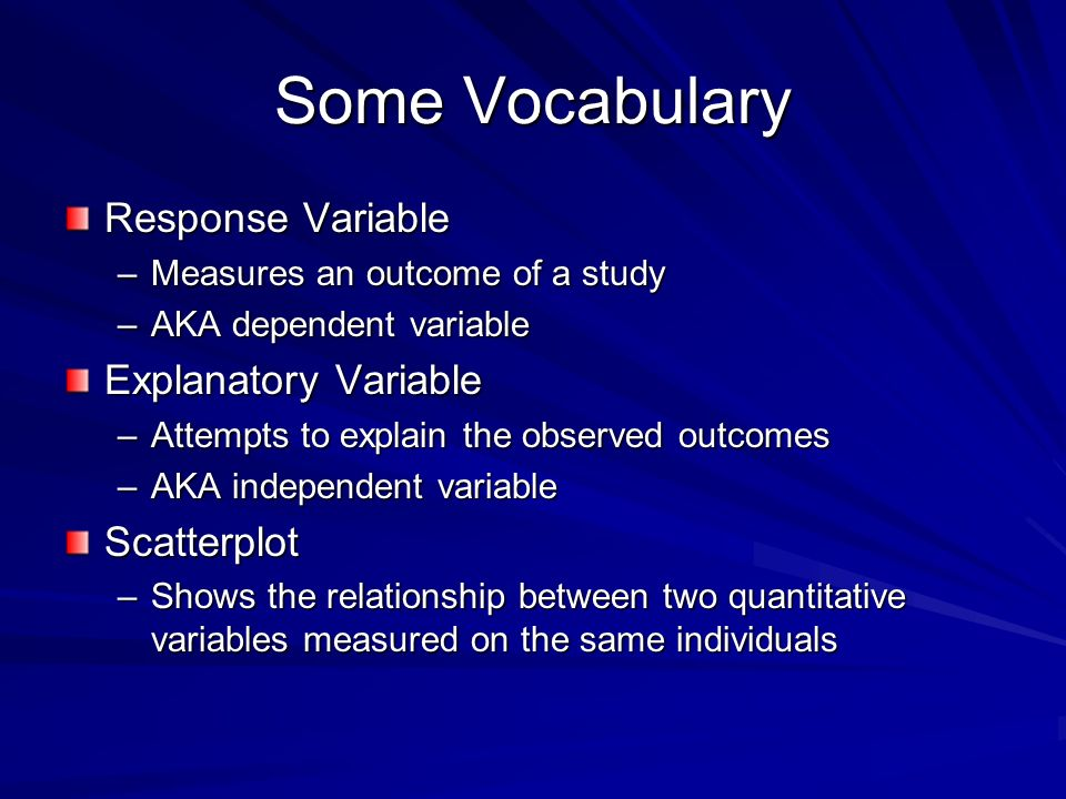 Some Vocabulary Response Variable Explanatory Variable Scatterplot
