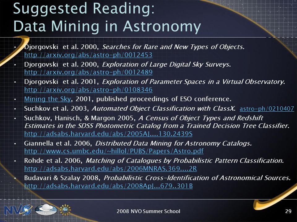 Suggested Reading: Data Mining in Astronomy