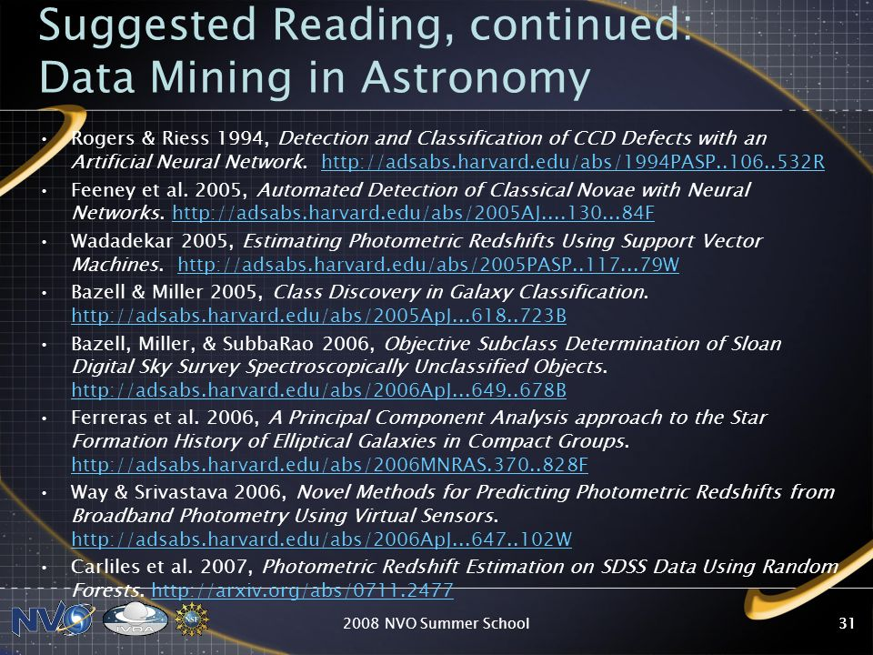 Suggested Reading, continued: Data Mining in Astronomy