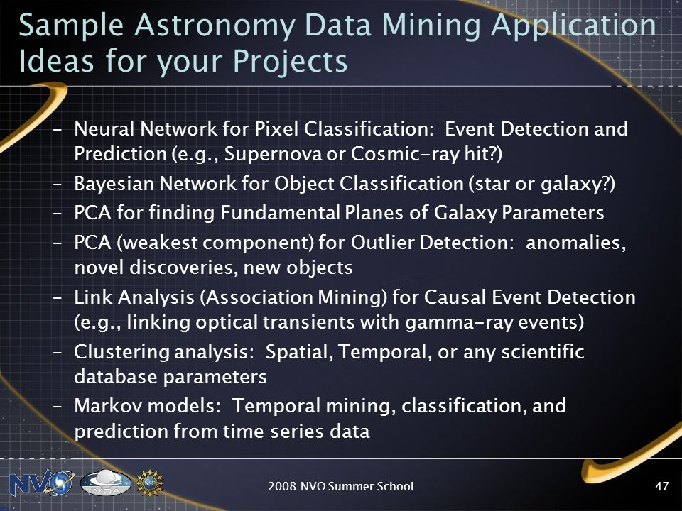 Sample Astronomy Data Mining Application Ideas for your Projects