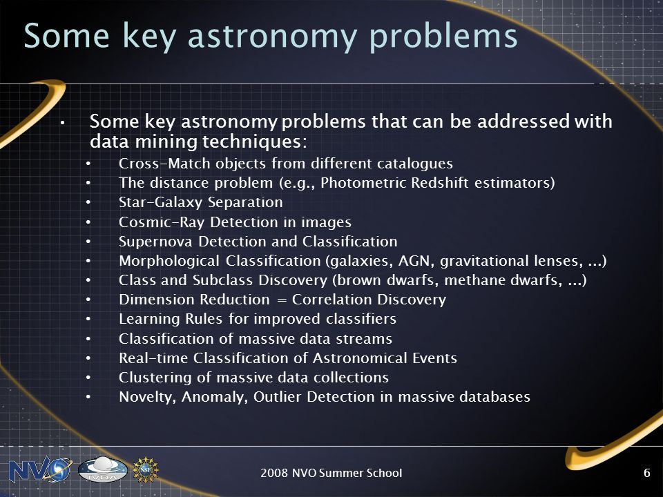 Some key astronomy problems