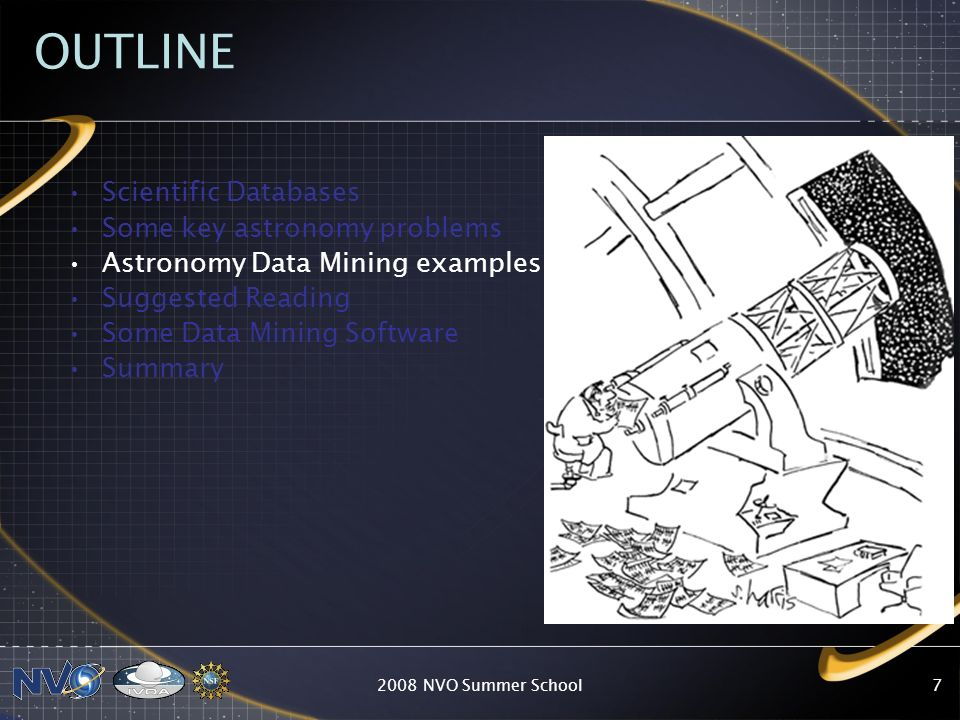 OUTLINE Scientific Databases Some key astronomy problems
