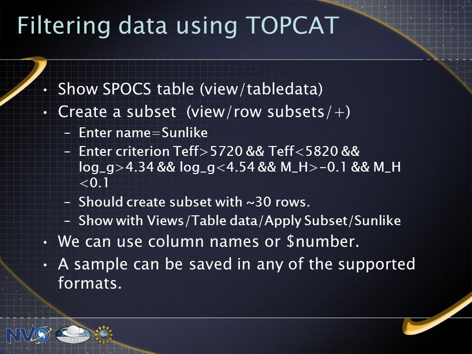 Filtering data using TOPCAT