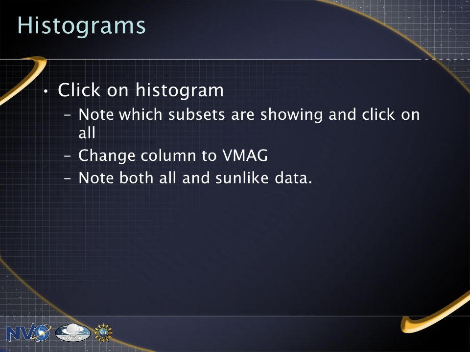 Histograms Click on histogram