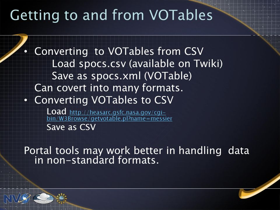 Getting to and from VOTables