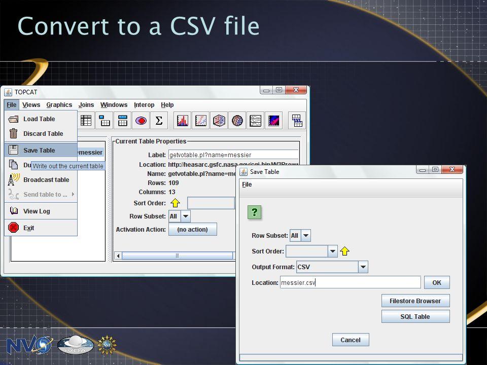 Convert to a CSV file