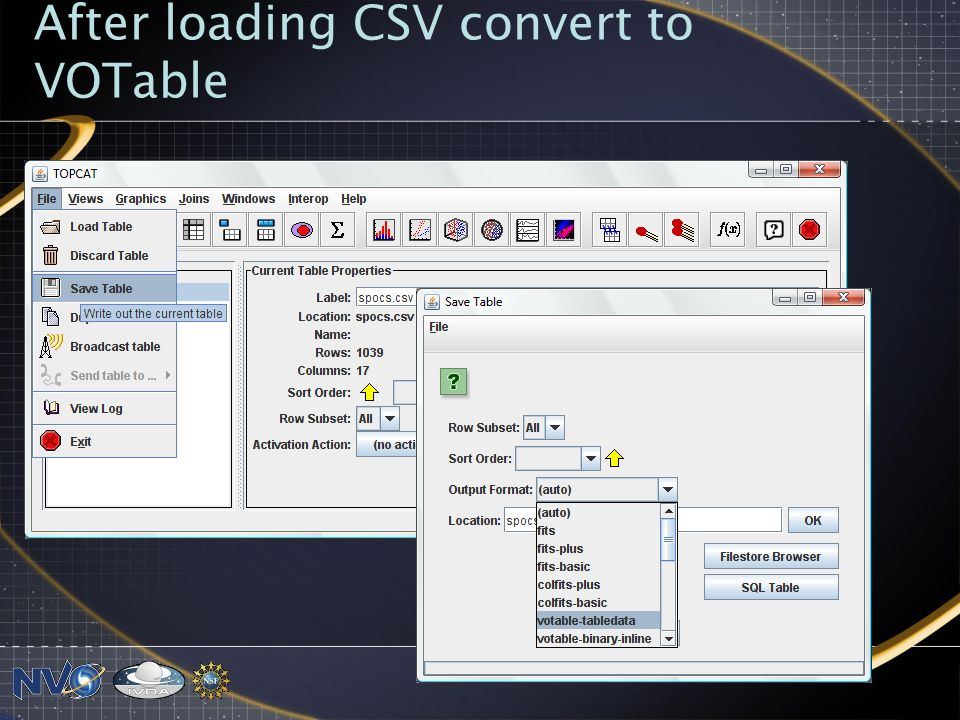 After loading CSV convert to VOTable
