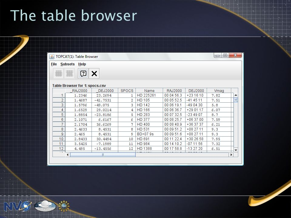 The table browser