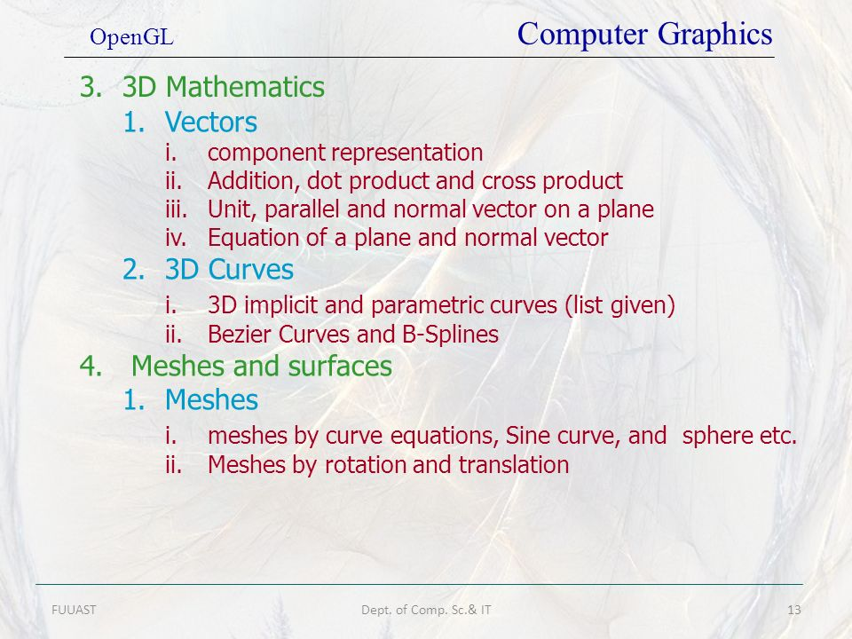 i. 3D implicit and parametric curves (list given)
