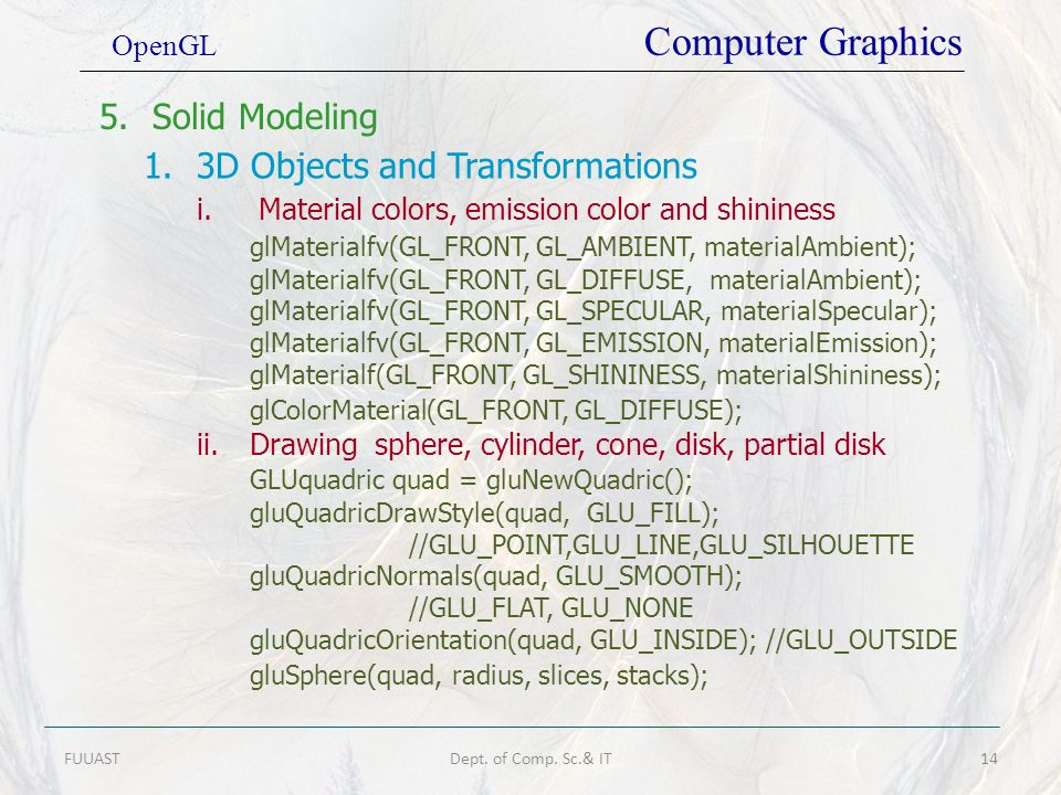 1. 3D Objects and Transformations