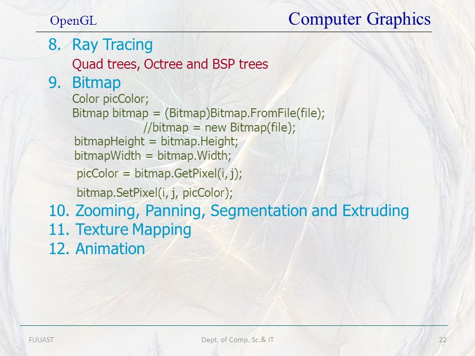 Quad trees, Octree and BSP trees Bitmap