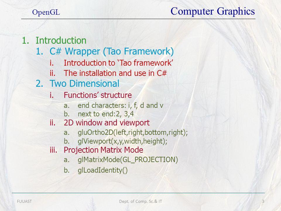 1. C# Wrapper (Tao Framework) i. Introduction to 'Tao framework'