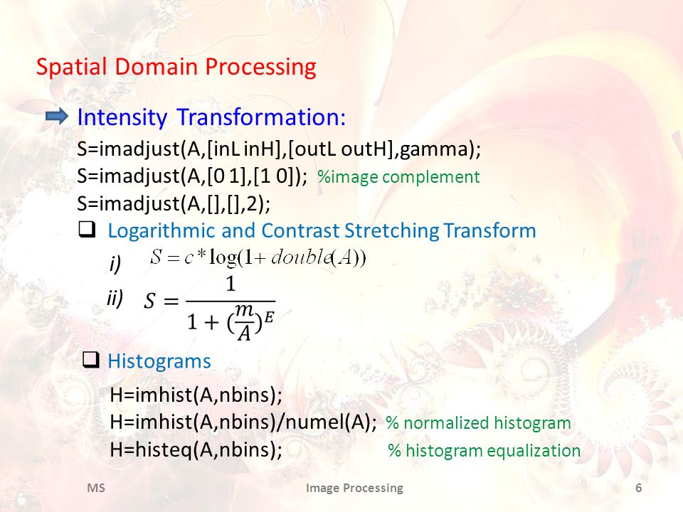 Spatial Domain Processing