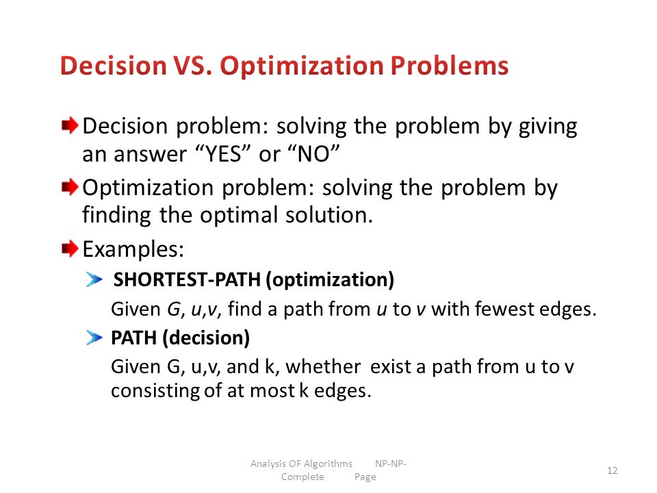 Decision VS. Optimization Problems