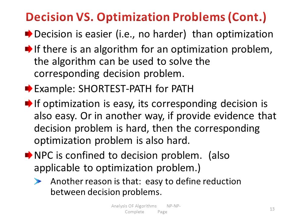 Decision VS. Optimization Problems (Cont.)