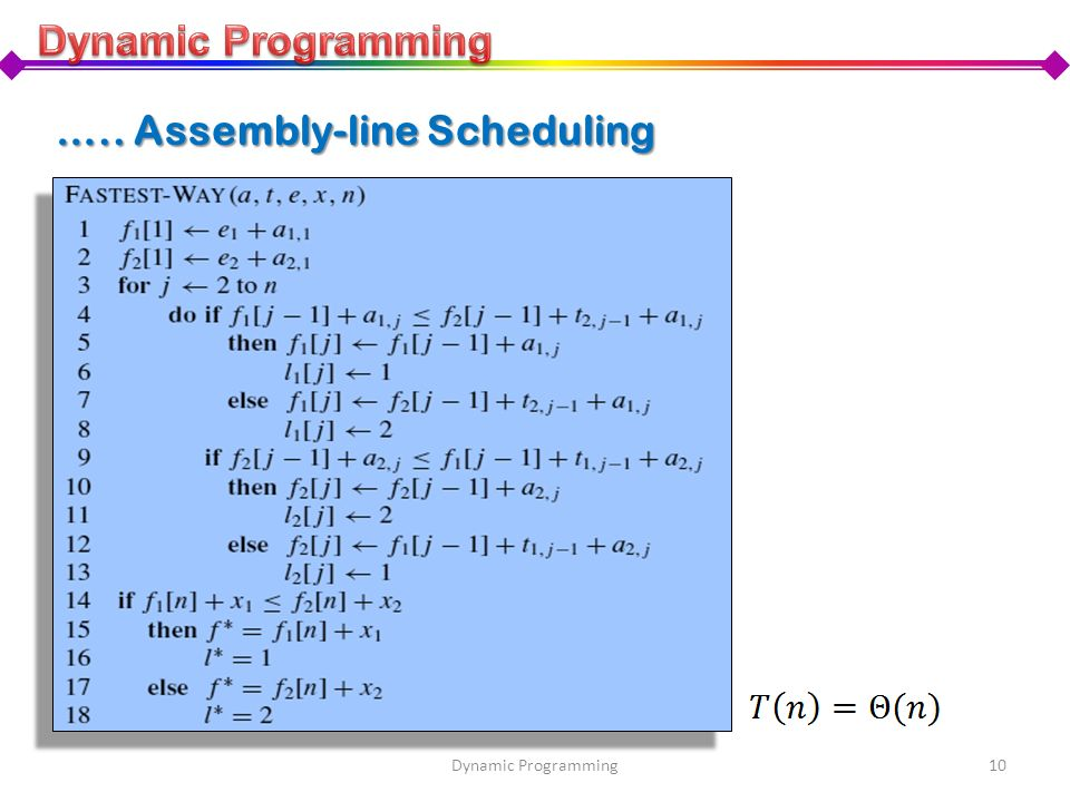 ….. Assembly-line Scheduling