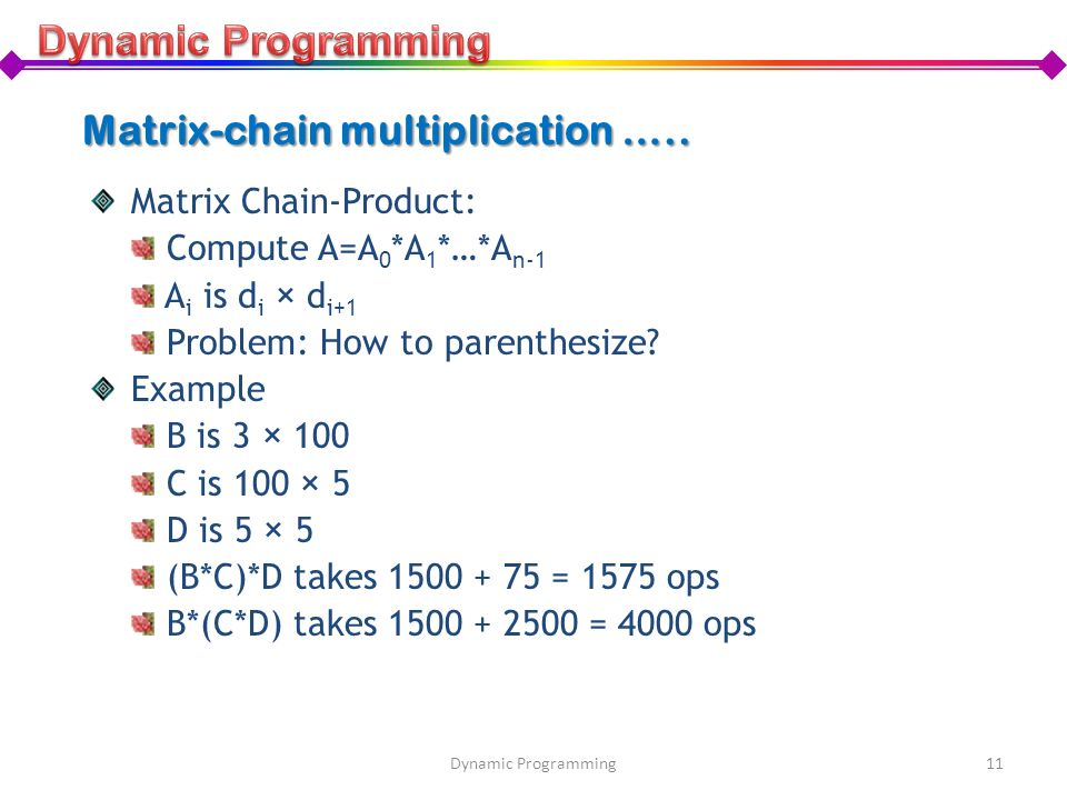 Matrix-chain multiplication …..