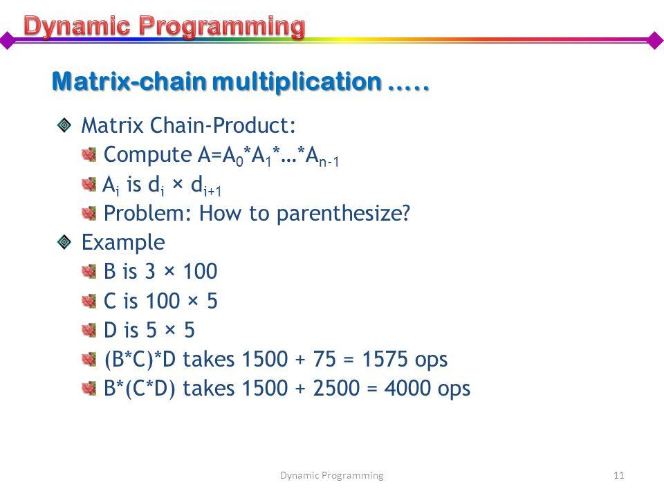 Matrix-chain multiplication …..