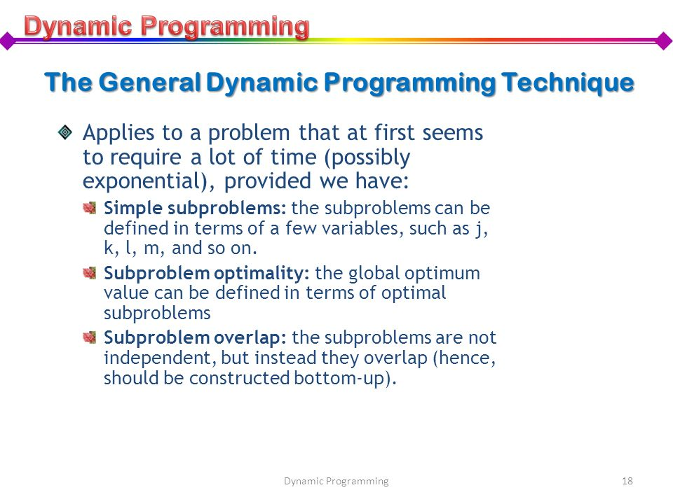 The General Dynamic Programming Technique