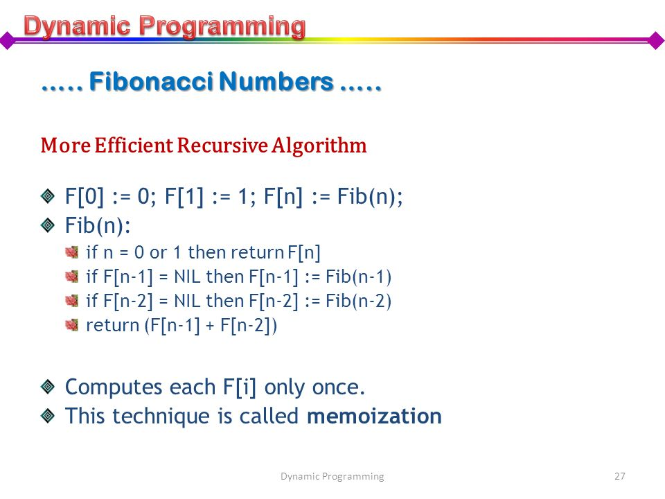 Dynamic Programming ….. Fibonacci Numbers …..