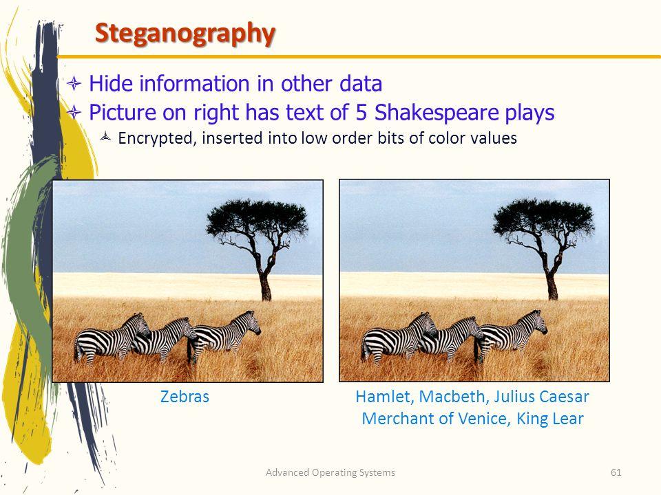 Steganography Hide information in other data