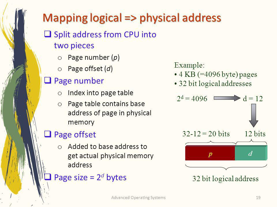 Mapping logical => physical address