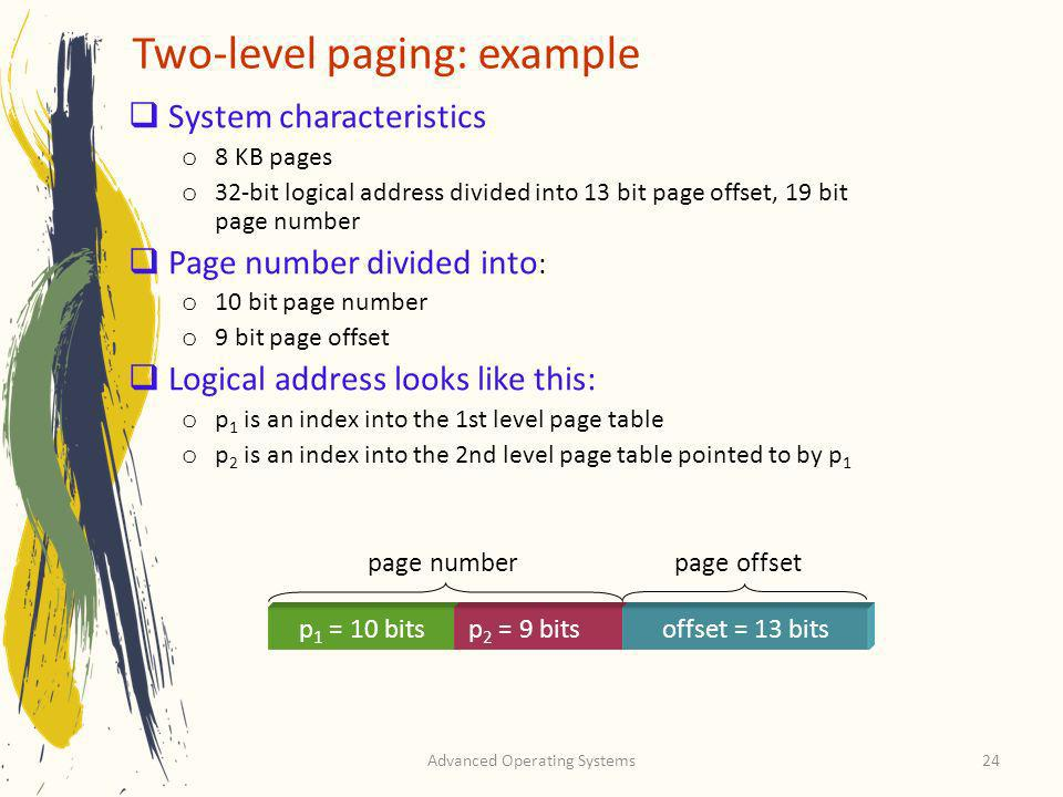 Two-level paging: example