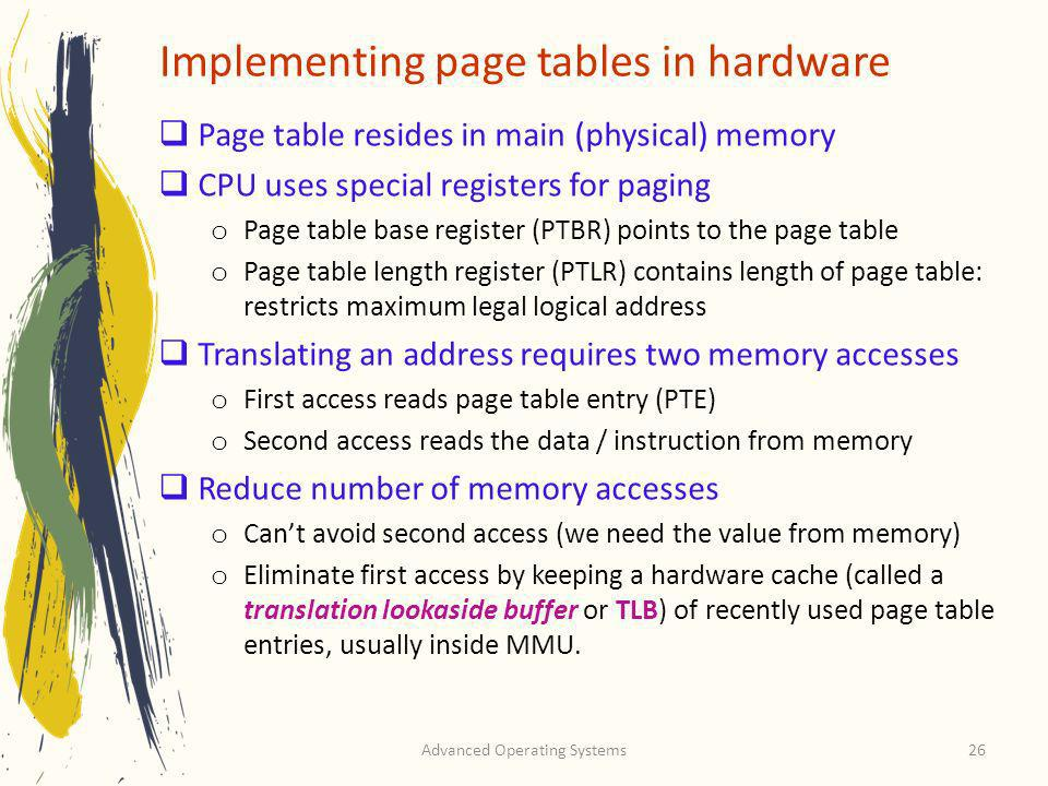 Implementing page tables in hardware