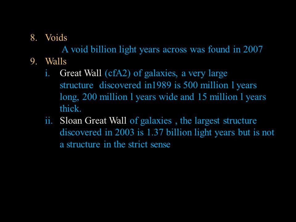 Voids A void billion light years across was found in 2007. 9. Walls.