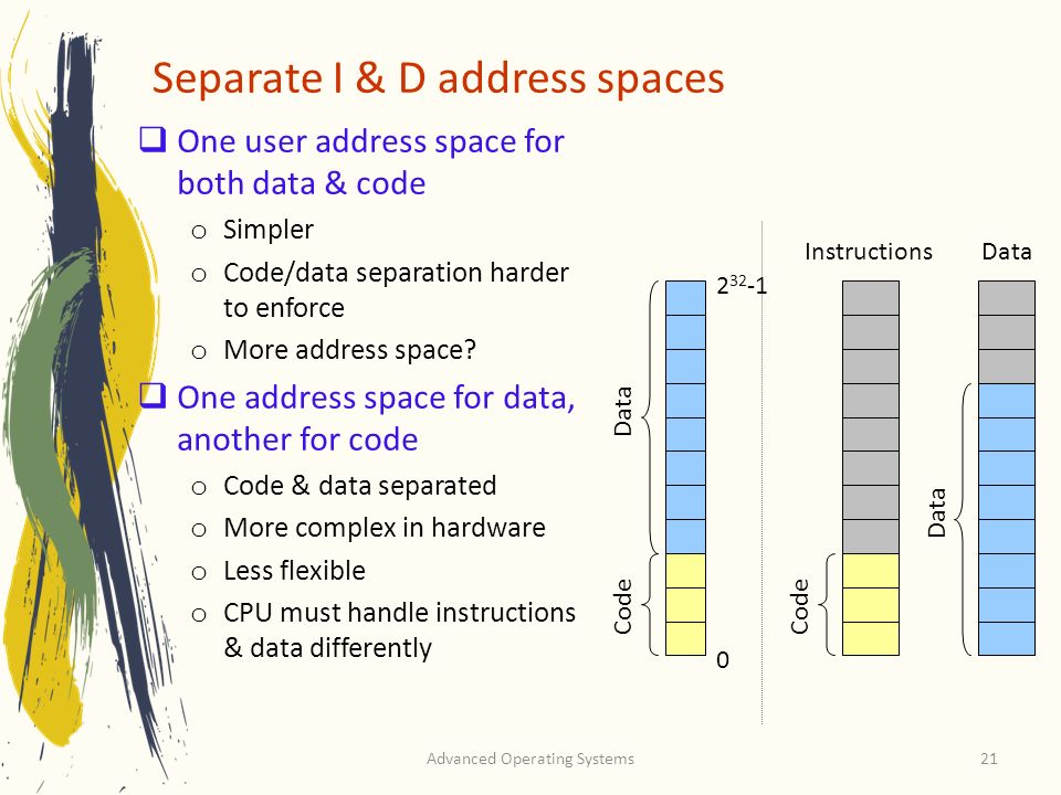 Separate I & D address spaces
