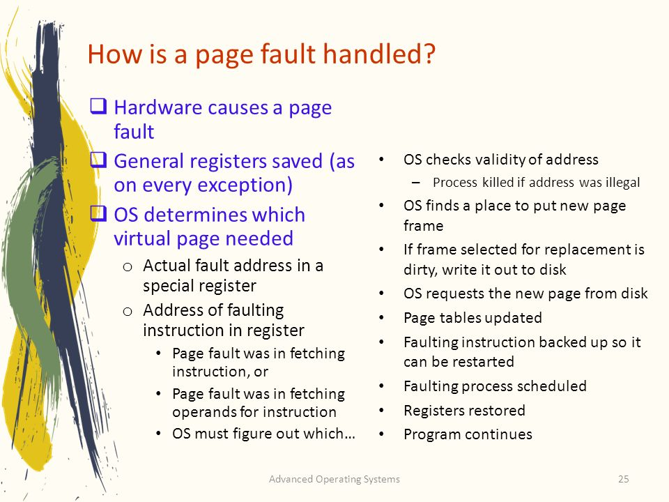 How is a page fault handled
